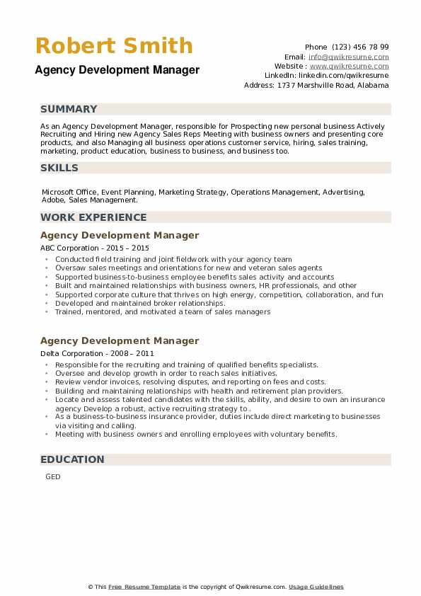 Agency Development Manager Resume example