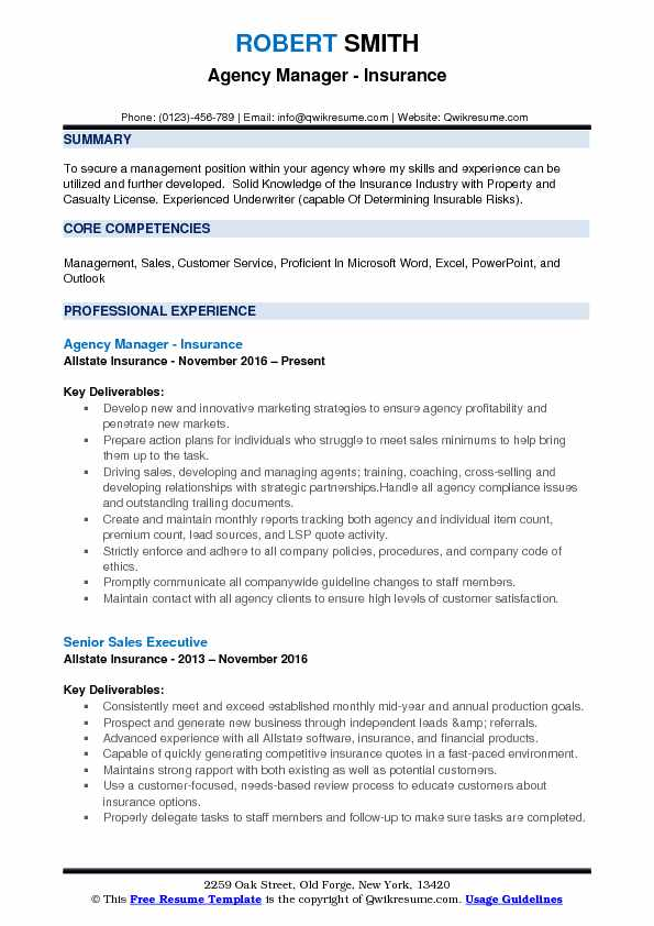 Agency Manager - Insurance Resume Sample