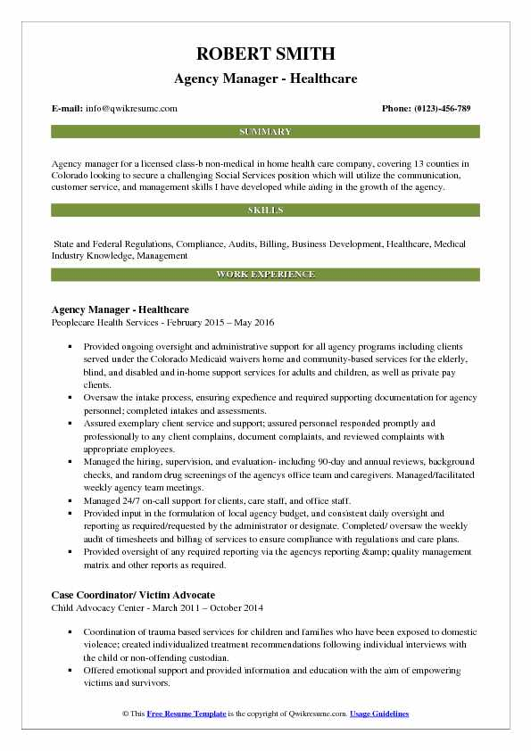 Agency Manager - Healthcare Resume Format
