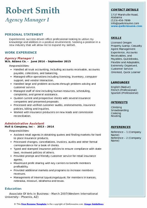 Agency Manager I Resume Template
