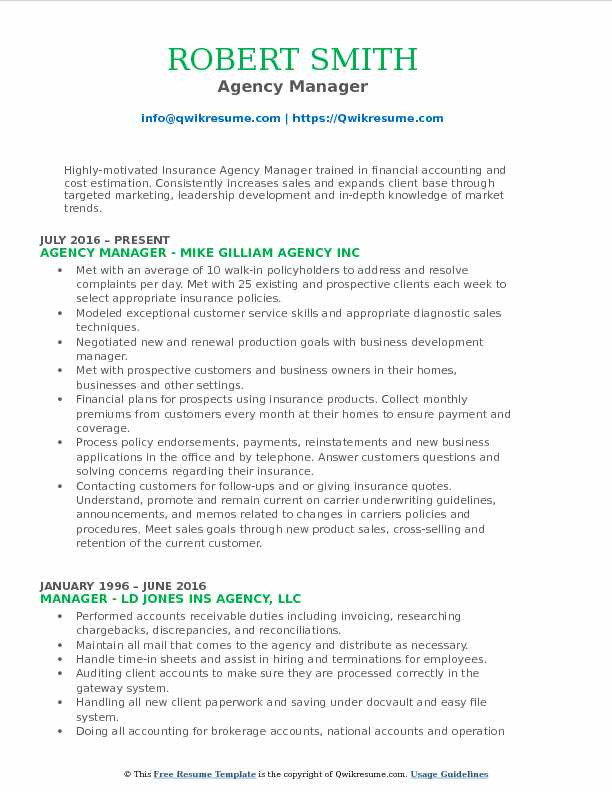 Agency Manager Resume Example