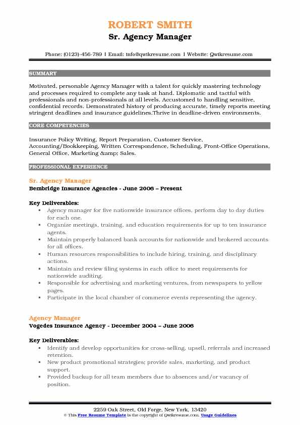 Sr. Agency Manager Resume Sample