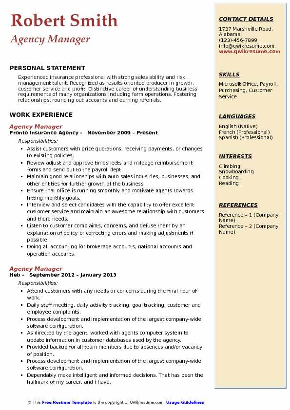 Agency Manager Resume Model