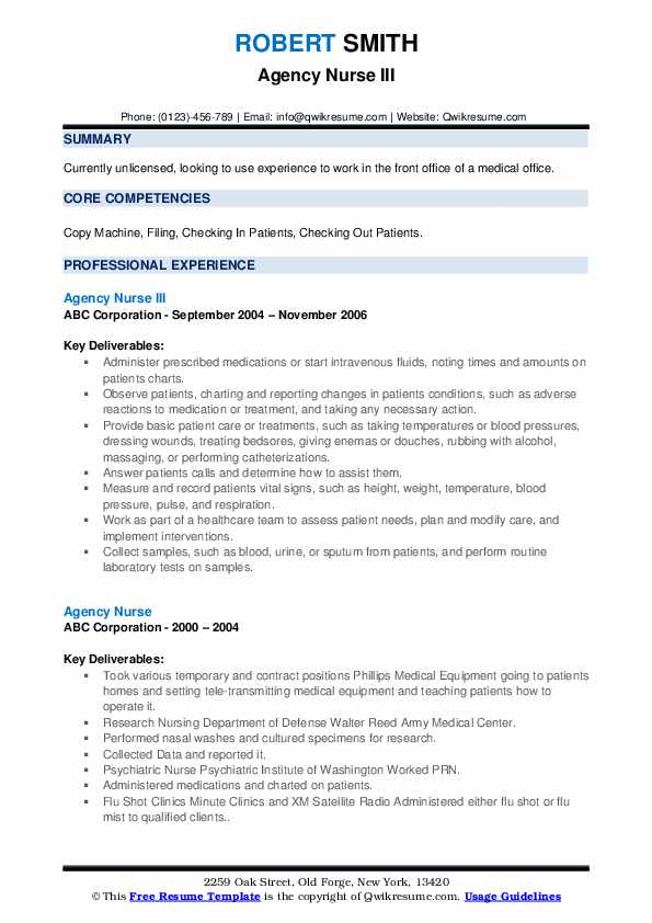 Agency Nurse III Resume Template