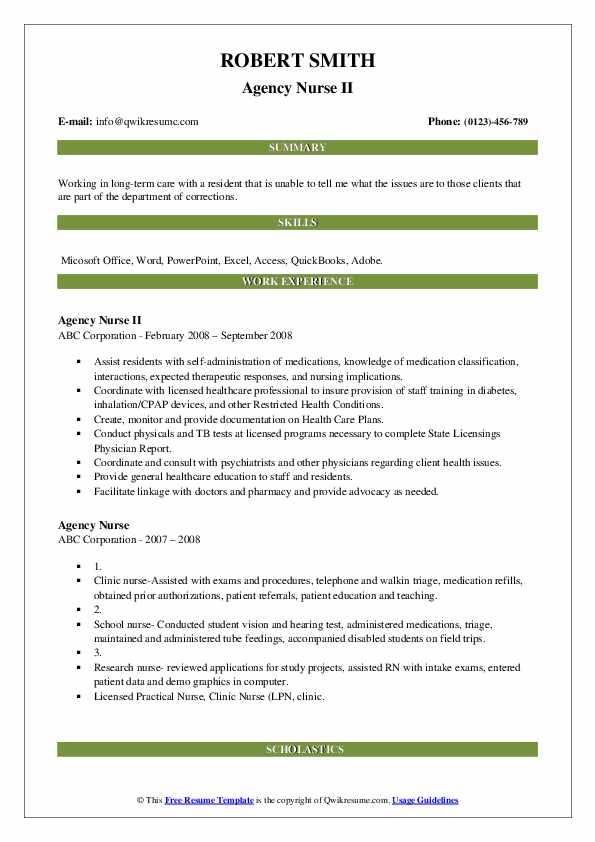 Agency Nurse II Resume Sample