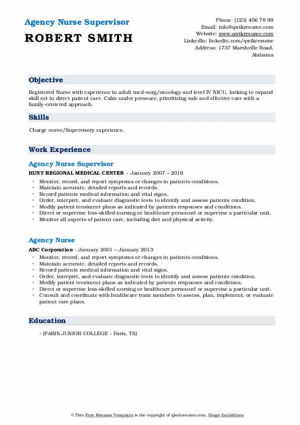 Agency Nurse Supervisor Resume Template