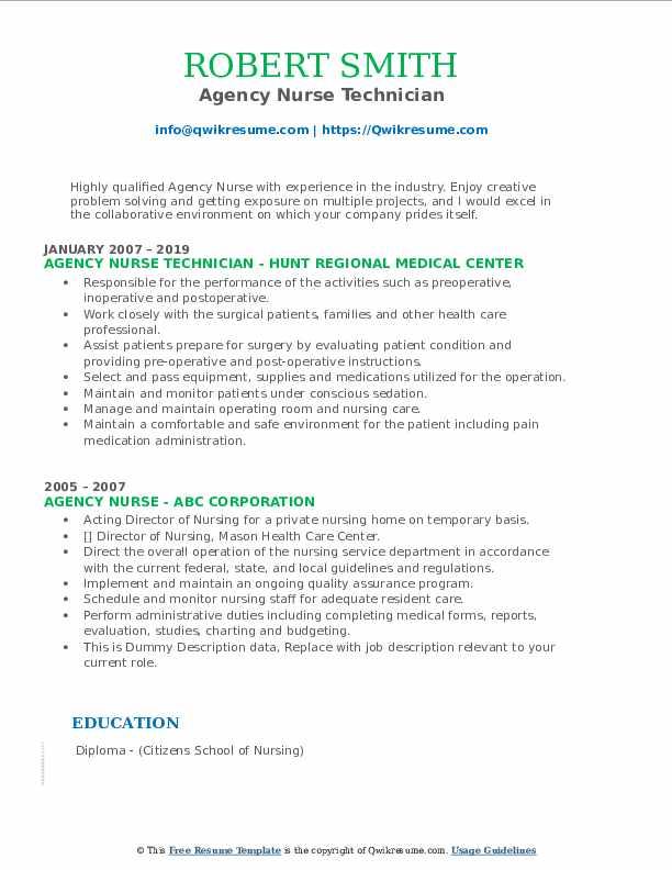 Agency Nurse Technician Resume Example
