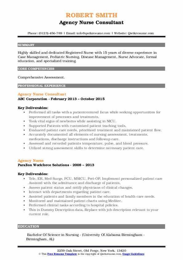 Agency Nurse Consultant Resume Sample