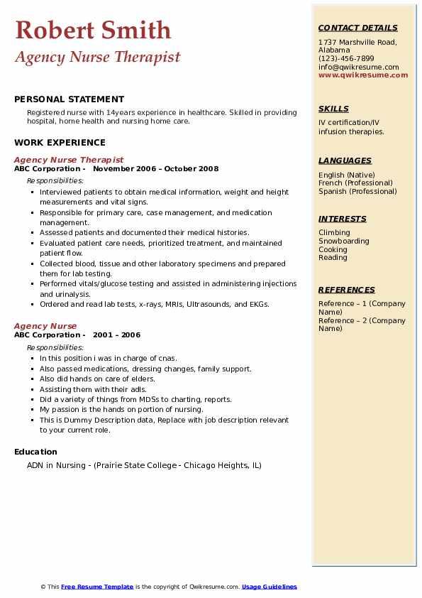 Agency Nurse Therapist Resume Example