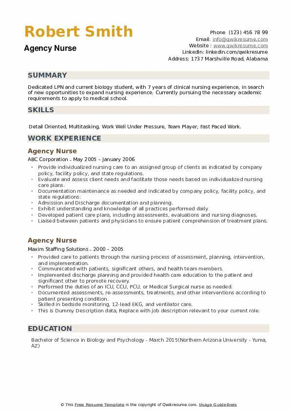 Agency Nurse Resume example
