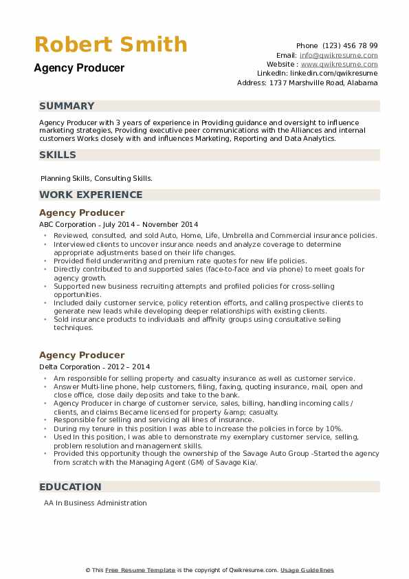 Agency Producer Resume example