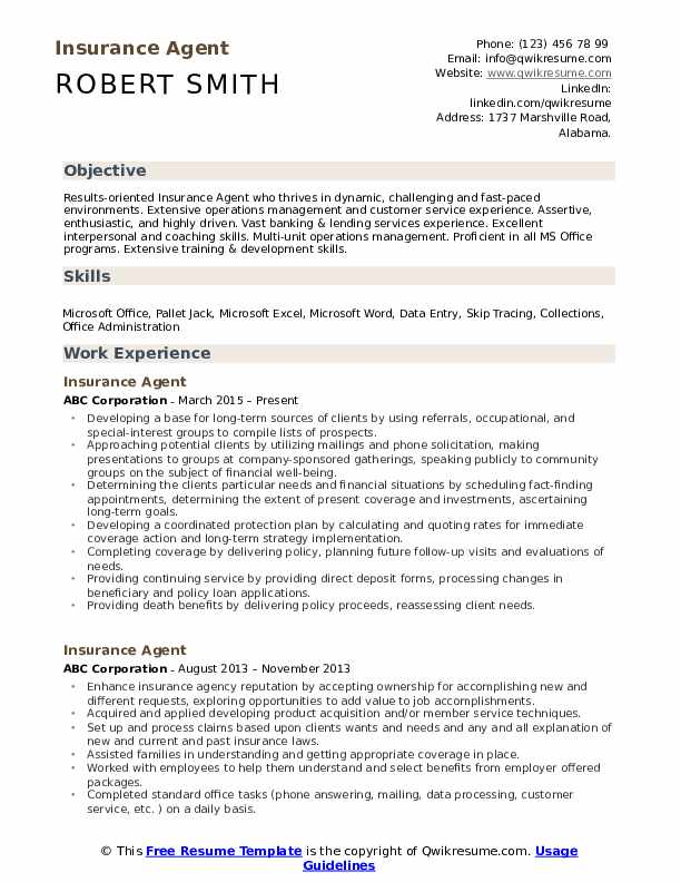 agent resume samples