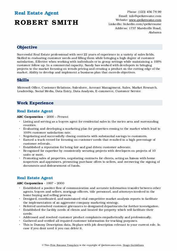 Real Estate Agent Resume Model