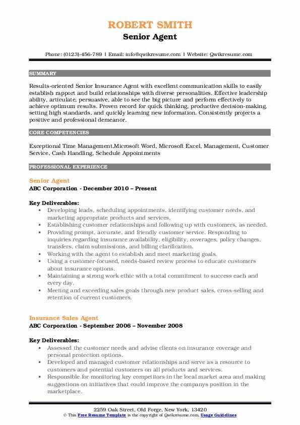 Senior Agent Resume Format