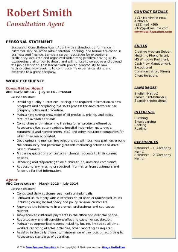 Consultation Agent Resume Sample