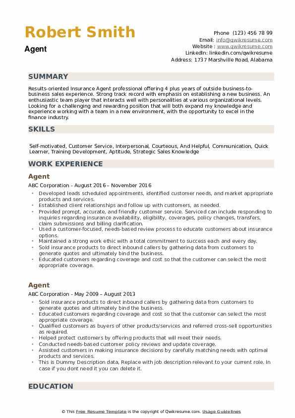 Agent Resume example