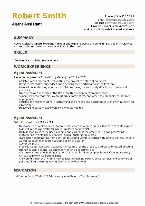 Agent Assistant Resume example