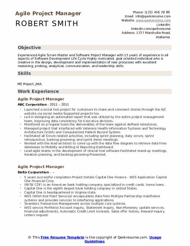 agile project manager resume samples