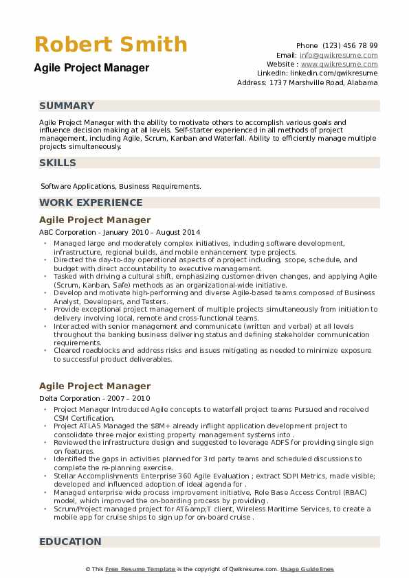 Agile Project Manager Resume example
