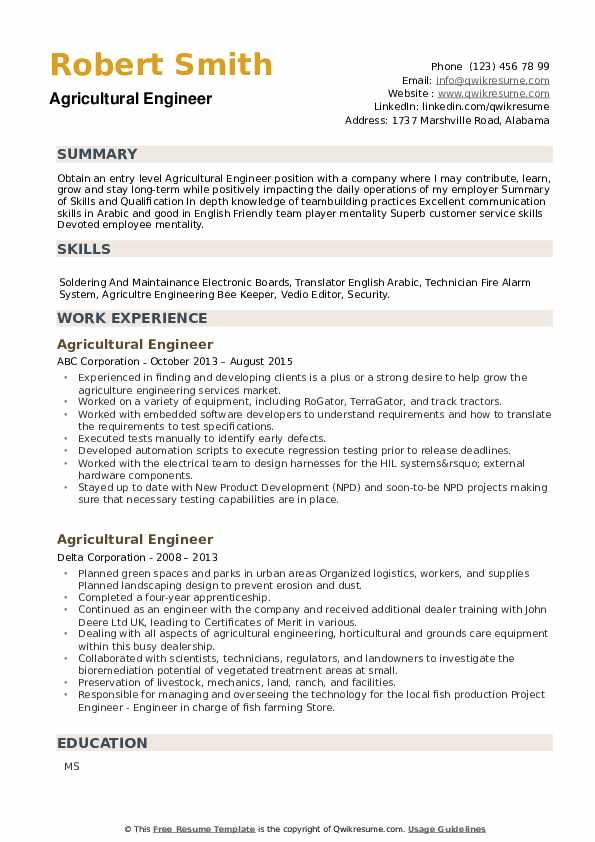 Agricultural Engineer Resume example