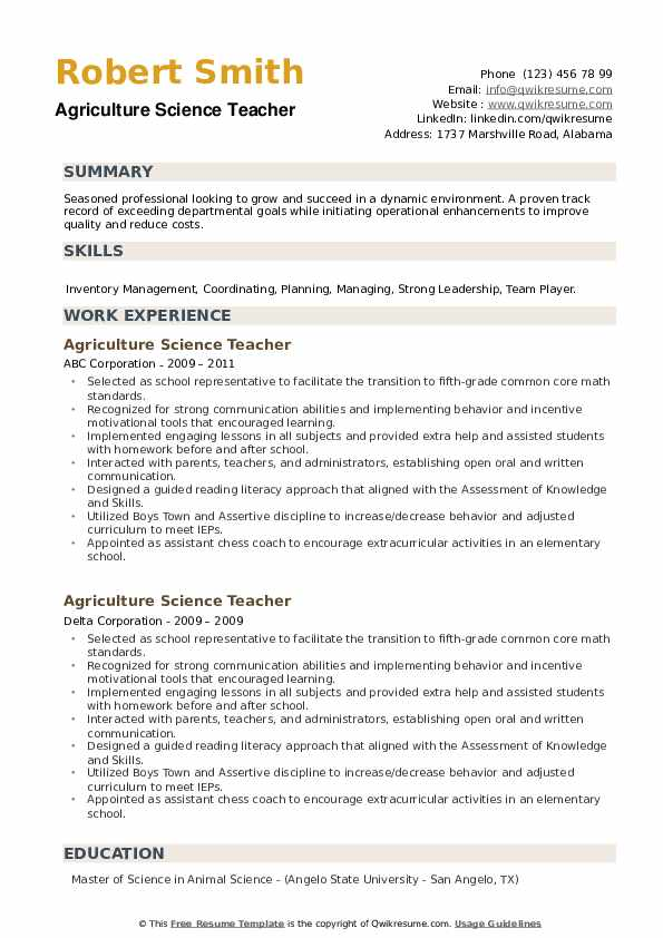 Agriculture Science Teacher Resume example