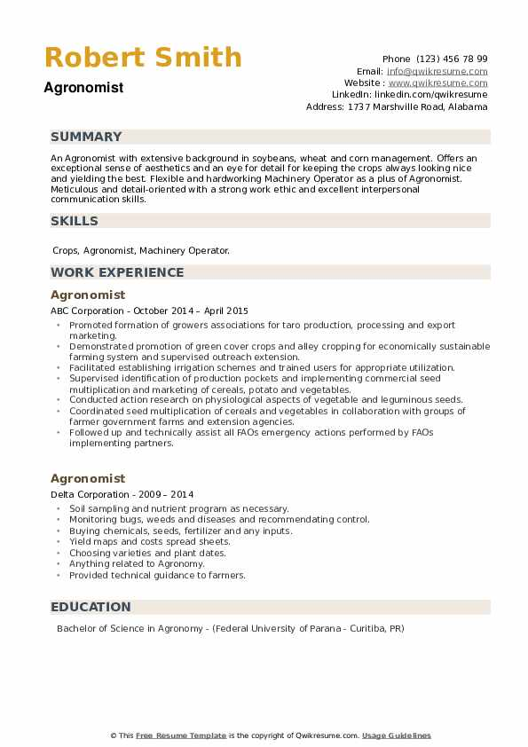 Agronomist Resume example