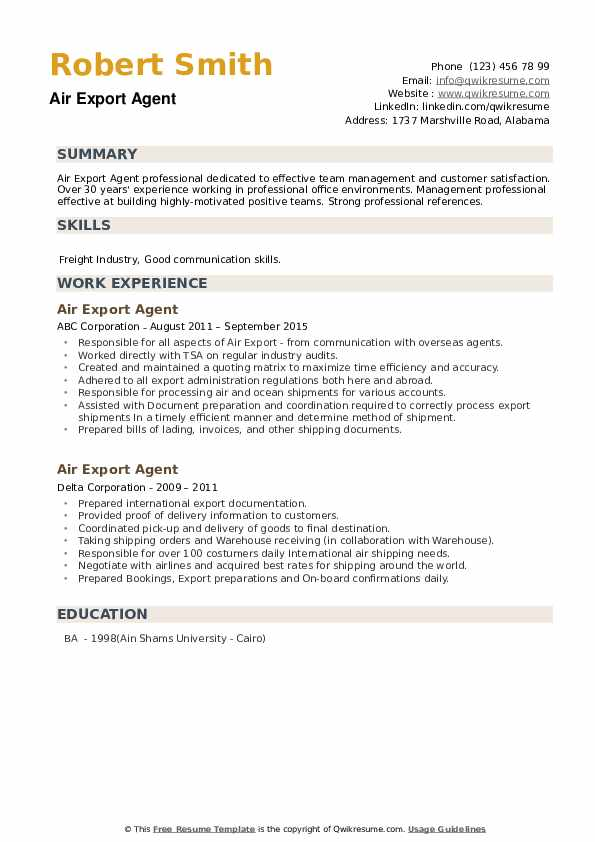 Air Export Agent Resume example