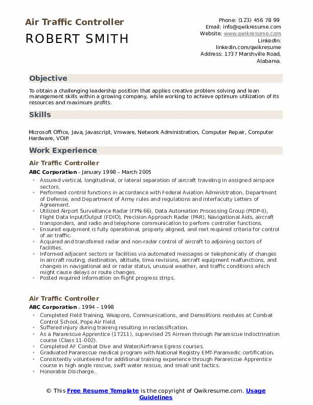 Air Traffic Controller Resume Format