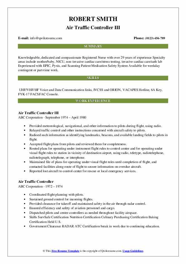 Air Traffic Controller III Resume Format