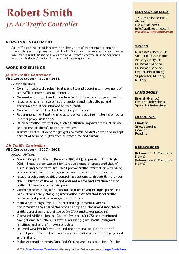 Jr. Air Traffic Controller Resume Example
