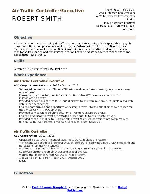 Air Traffic Controller/Executive Resume Format