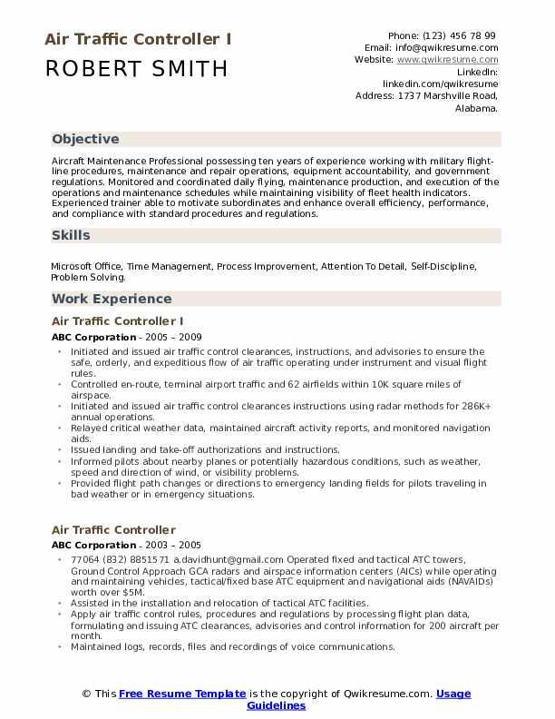 Aircraft Maintenance Technician Officer Resume Template
