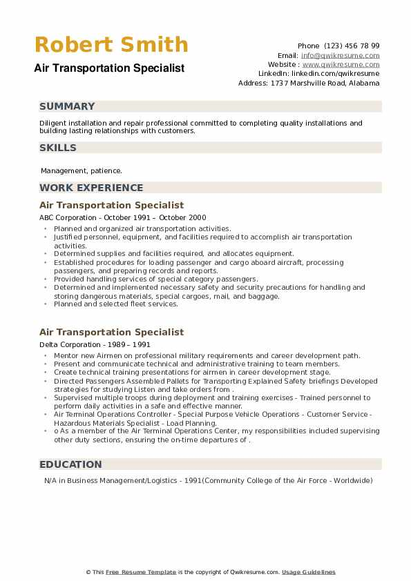 Air Transportation Specialist Resume example