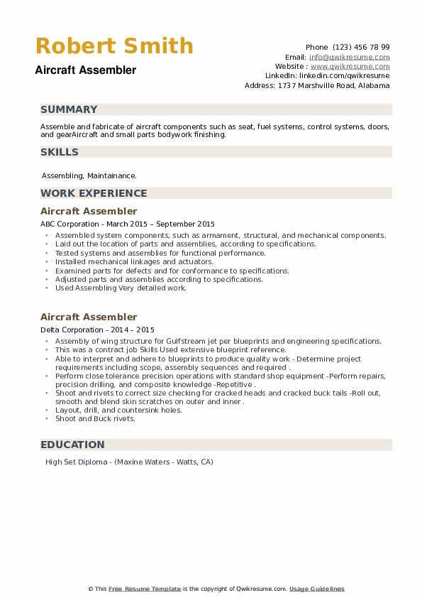 Aircraft Assembler Resume example