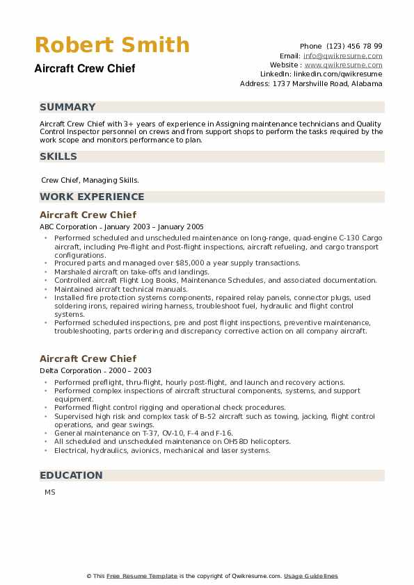 Aircraft Crew Chief Resume example