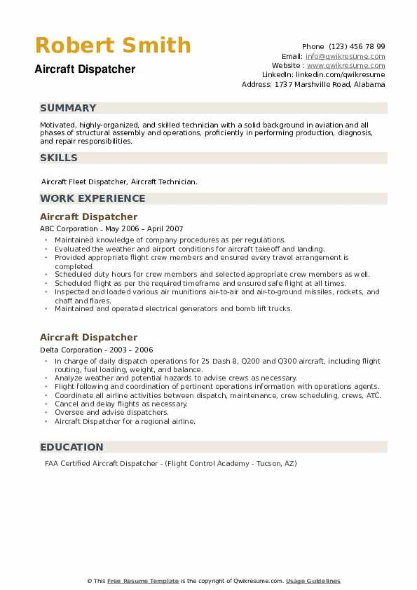 Aircraft Dispatcher Resume example