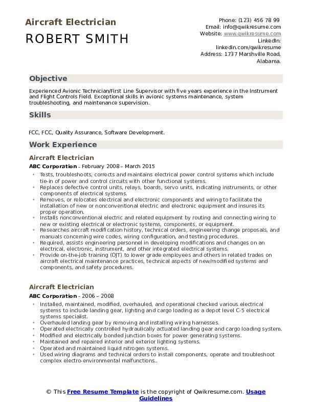 Aircraft Electrician Resume Sample