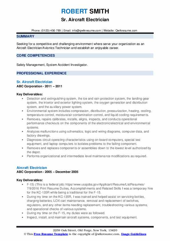 Sr. Aircraft Electrician Resume Template