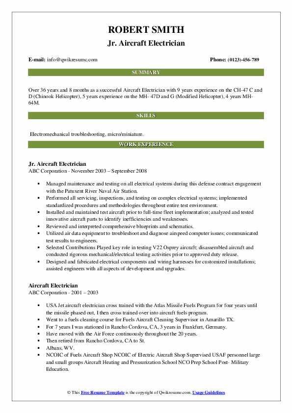 Jr. Aircraft Electrician Resume Sample