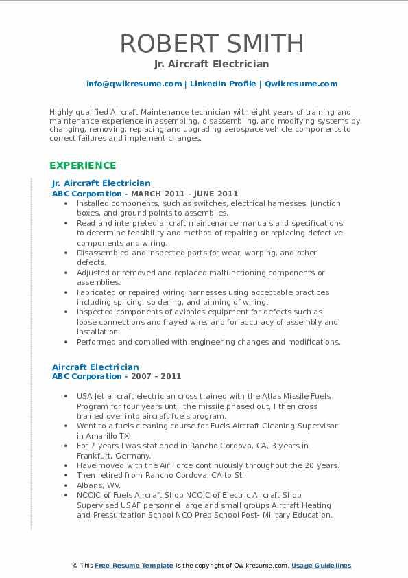 Jr. Aircraft Electrician Resume Template