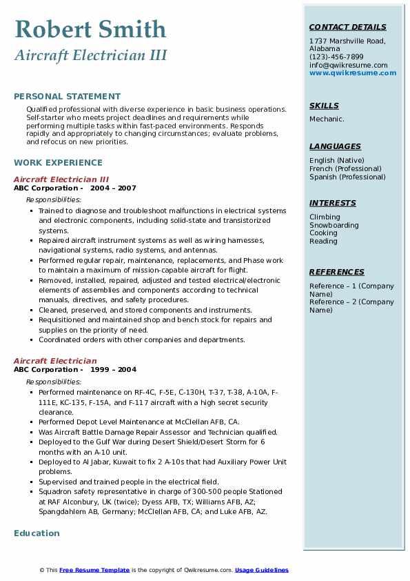Aircraft Electrician III Resume Model