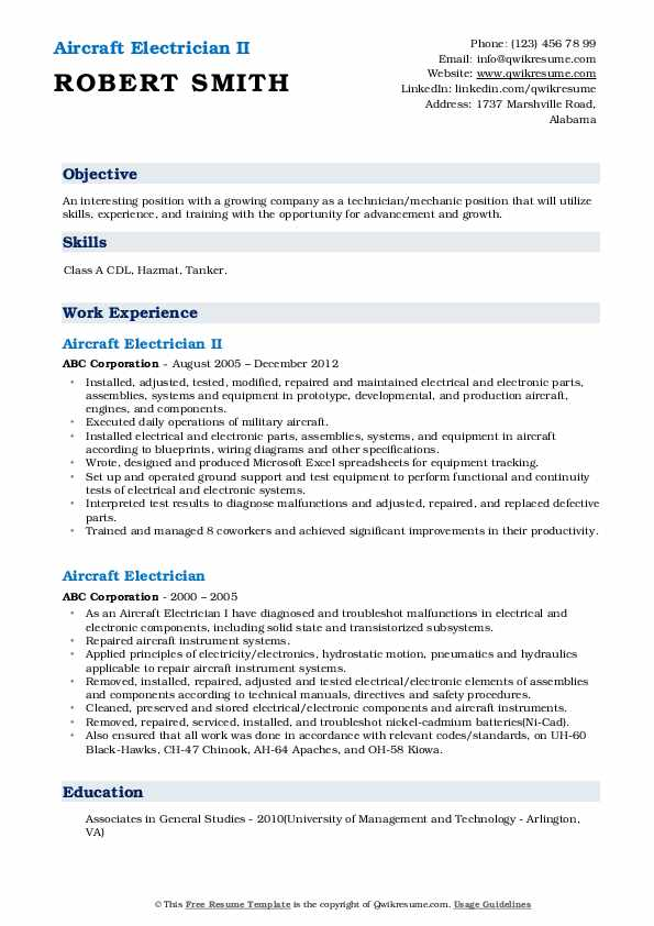 Aircraft Electrician II Resume Format