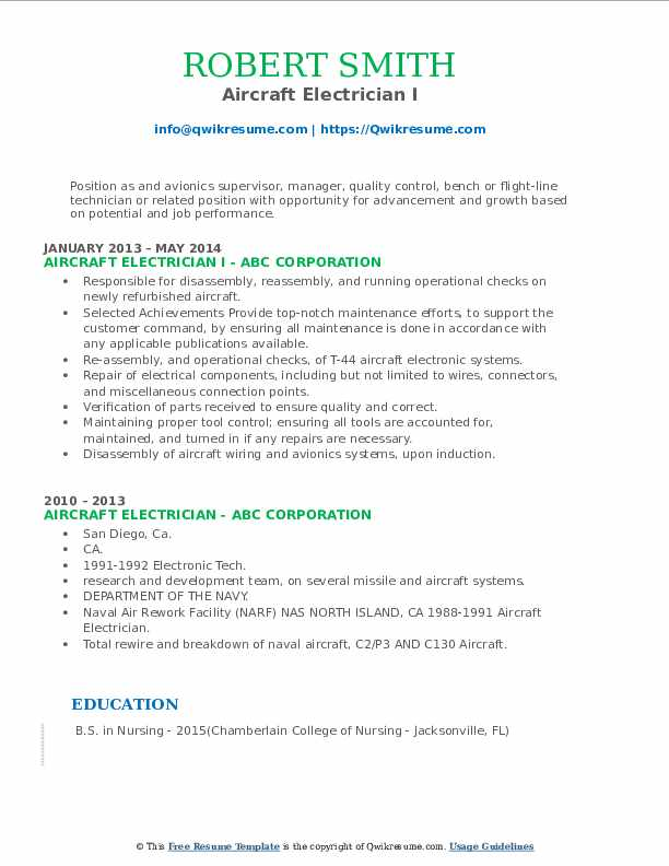 Aircraft Electrician I Resume Format