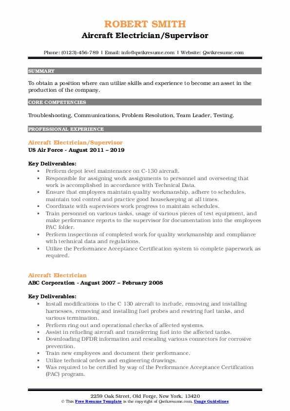 Aircraft Electrician/Supervisor Resume Format
