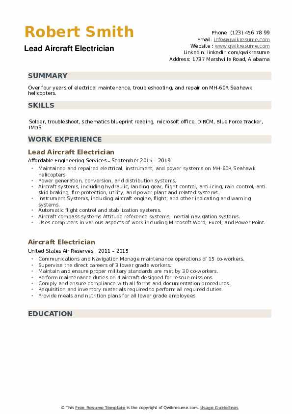 Lead Aircraft Electrician Resume Example