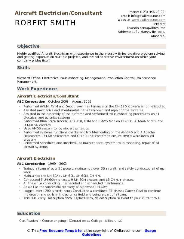 Aircraft Electrician/Consultant Resume Example