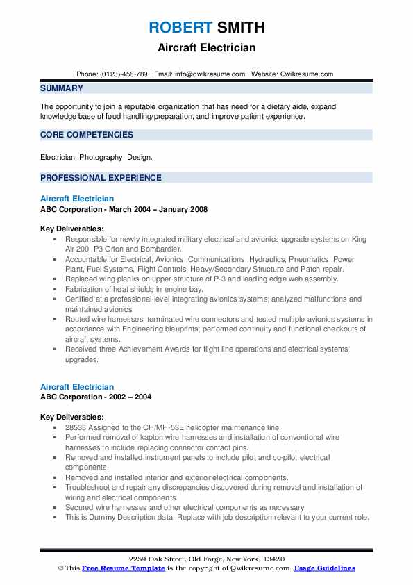 Aircraft Electrician Resume example