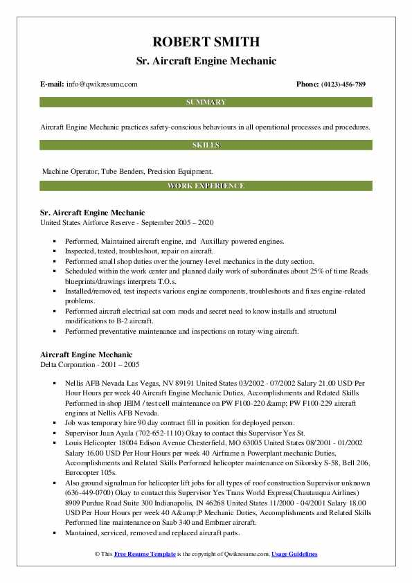 aircraft engine mechanic resume samples