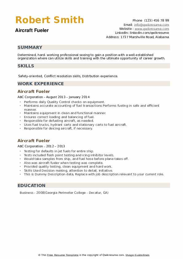Aircraft Fueler Resume example
