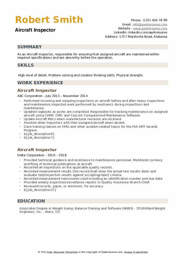 Aircraft Inspector Resume example